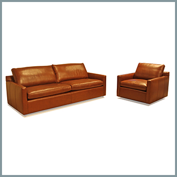 1387 Leather Sofa and Chair