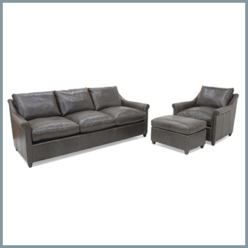 1855 Leather Sofa and Chair with Ottoman