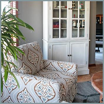 Sitting Room Accent Chair & Door Cabinet